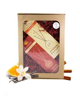 Ruda dovanų dėžutė su langeliu
