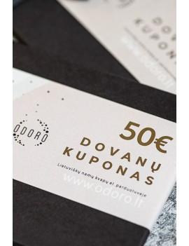 50 EUR vertės popierinis dovanų kuponas