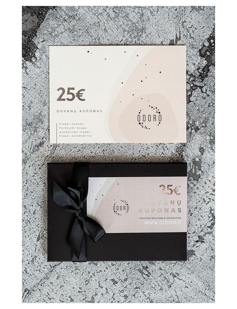 25 EUR vertės popierinis dovanų kuponas